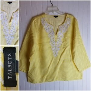 Talbots Yellow & White Striped Embroidered Tunic